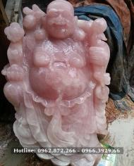 Tượng Phật Di Lặc Đá Thạch Anh Hồng